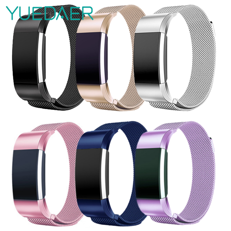 YUEDAER S/L Magnetische Metalen Wrist Strap Band Voor Fitbit Lading 2 Polsband Milanese Rvs Vervangen Voor Fitbit lading 2