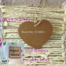 Wholesale Free Shipping Heart Design kraft Hang Tag Swing Tag For Gift Note Hand Made Tag With Hand Made Sticker Label