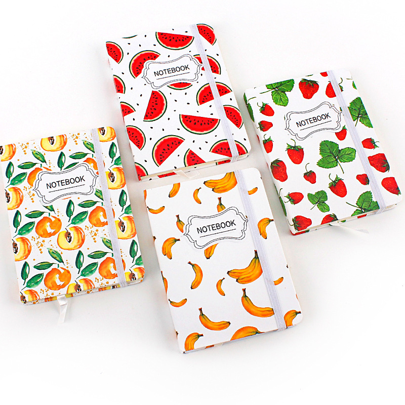 JUGAL Korean Stationery Fruit Notebook A5 Schedule Book Horizontal Page Watermelon Notepad Diary 96Sheets School Supplies Gift