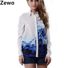 Zewo women fashion chiffon blouses lady floral printed loose blusa Turn down Collar Chiffon shirts summer