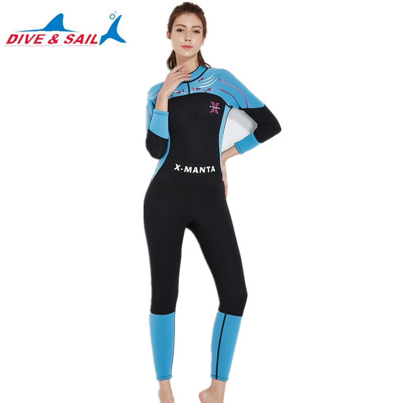 DIVE&SAIL 3mm Neoprene Scuba Diving Suits Womens One-piece Full Body Swimming Surfing Boating Jellyfish Wetsuits Equipment