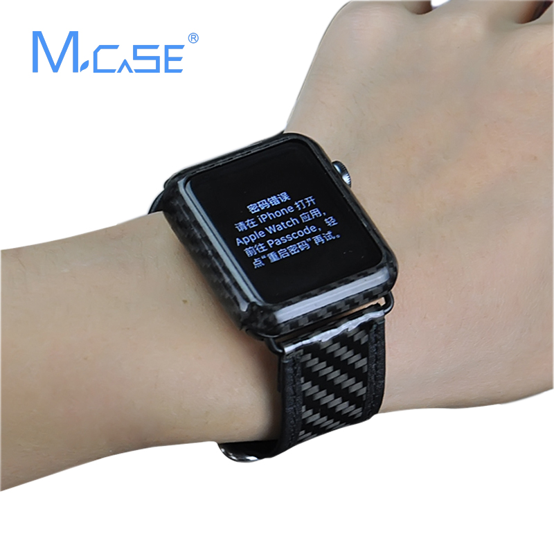 more photos 5c7f6 cd7ad US $25.6 |Mcase New Arrival for Apple Watch Case Carbon Fiber Cover  42mm38mm Luxury Ultra Thin Genuine Carbon Fibre Cover for iWatch Case-in  Fitted ...