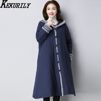 KEKURILY Women Plus Size Coat Thick Cashmere Warm Winter Jacket Elegant Vintage Cotton Linen Female Large