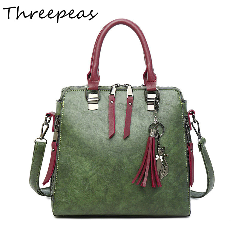 THREEPEAS Women Handbags Large Capacity Tote Bag Tassel Bags Green Female Shoulder Bags Shell Vintage Messenger Crossbody Purse