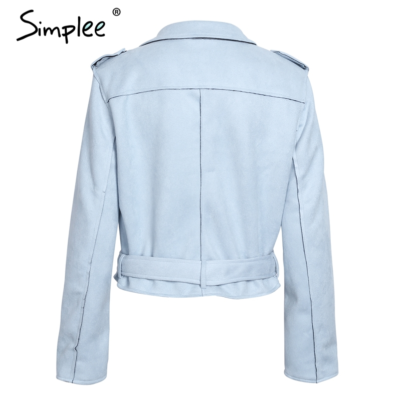 Simplee Leather suede faux leather jacket Women zipper belt moto jacket Cool streetwear ladies' leather jackets winter coat 2017
