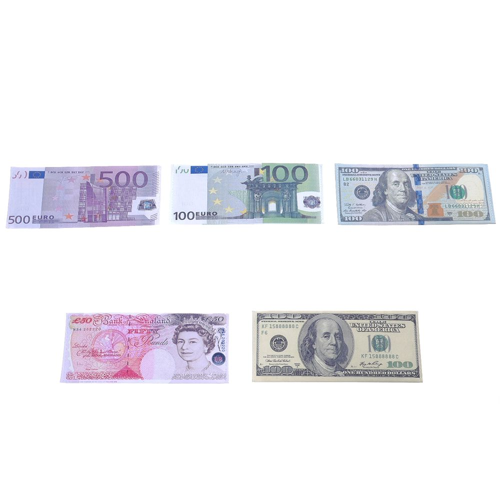 Unisex Mens Womens Currency Notes Pattern Pound Dollar Purse Wallet Card Holder