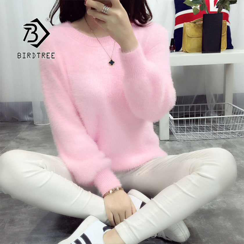 2019 Autumn New Women's Pullovers Sweater Mohair O-neck Solid Loose Lantern Sleeve Candy Color Casual Fashion Tops T97703D