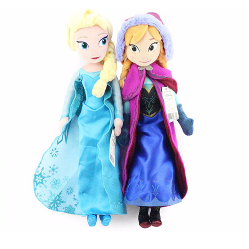 40cm Anna And Elsa Plush Toys Soft Stuffed Plush Doll Toys Movies Cartoon Cute Toys Girl  Birthday Gift