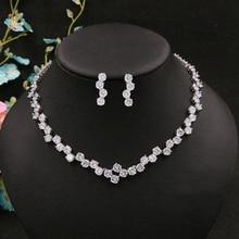 цена на Cubic Zirconia Round Crystal Drill Delicate Bridal Necklace Pendant Earrings Jewelry Rhinestones Wedding Accessories For Women