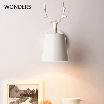 Nordic Modern Deer Antlers LED Wall Light Solid Wood Black White E27 iron Animal Wall Lamp Home Fixtures for Bedroom foyer tuda free shipping art deco style originality solid wood wall lamp for bedroom sitting room porch ngau tau led wall lamp e27