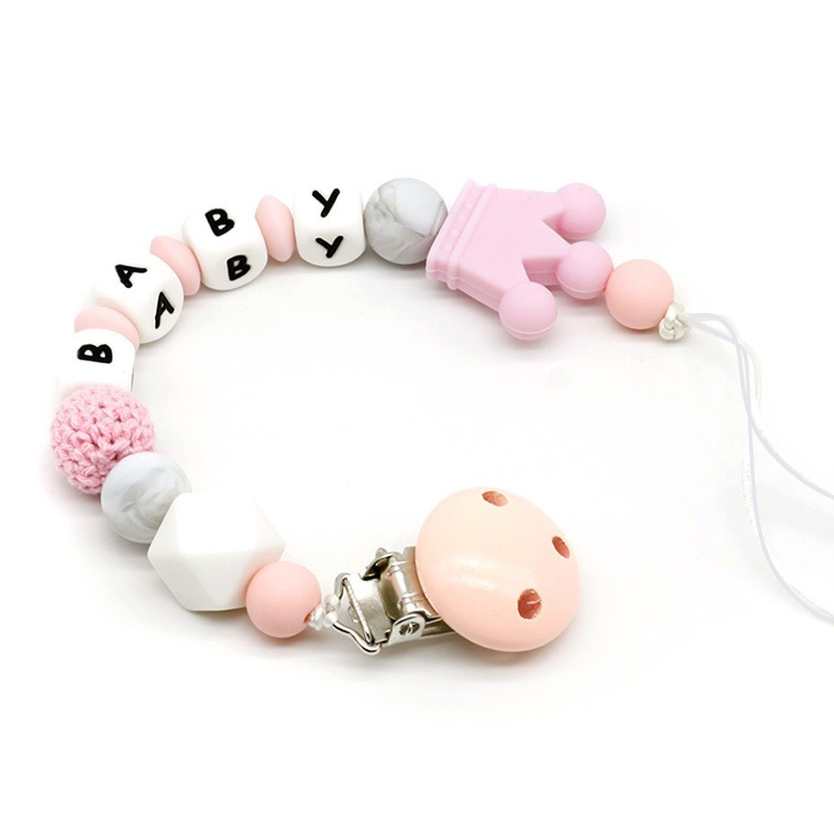 Personalised Silicone teething beads dummy clip pacifer clip Baby Shower gift