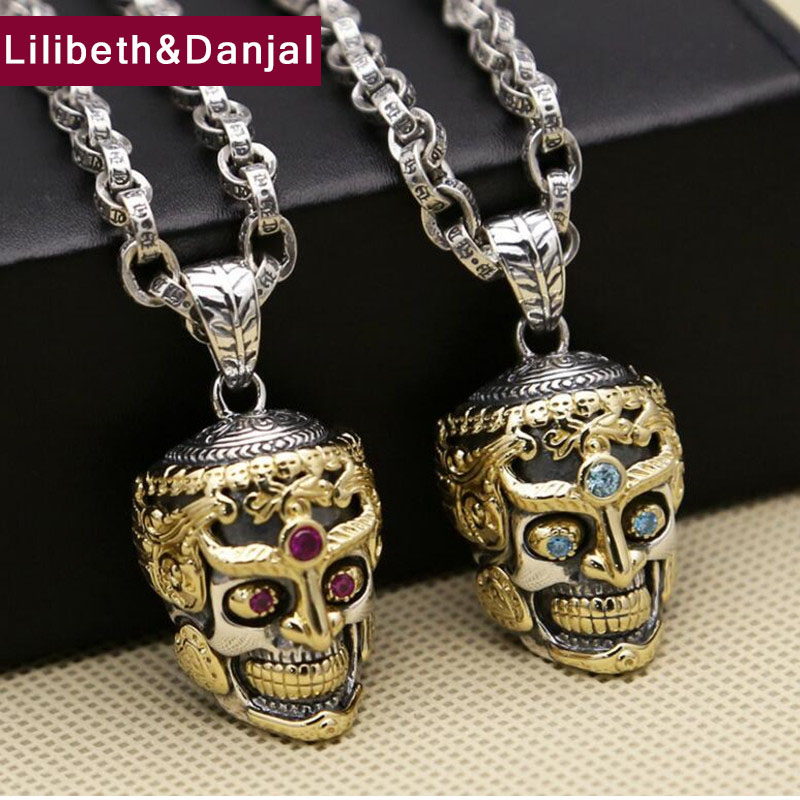 Punk Thai Buddha skull Inlaid zircon chain necklace 100 real 925 sterling silver Necklace Pendant for