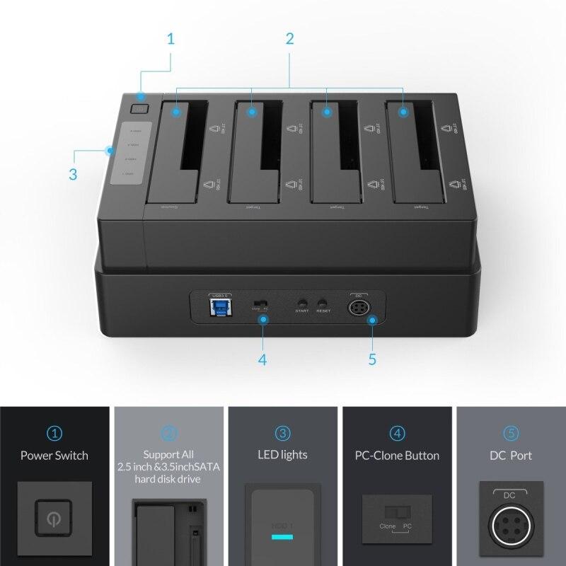 ORICO USB 3.0 to SATA 4 Bay გარე HDD - შემნახველი წყაროები - ფოტო 6