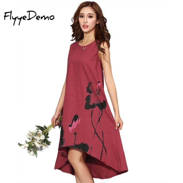 M   6XL Mùa Hè 2020 Mới Đầm Vestido Cổ Áo Nữ Trung Quốc Linen Vintage Nữ Sundress Plus Size Nữ quần Áo