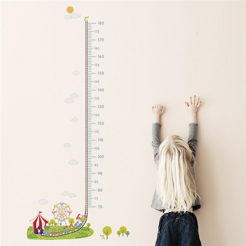 Cartoon Amusement Park Car Train Height Measure Wall Stickers Kids Rooms Decor Children's Growth Chart Wall Art Decals 1