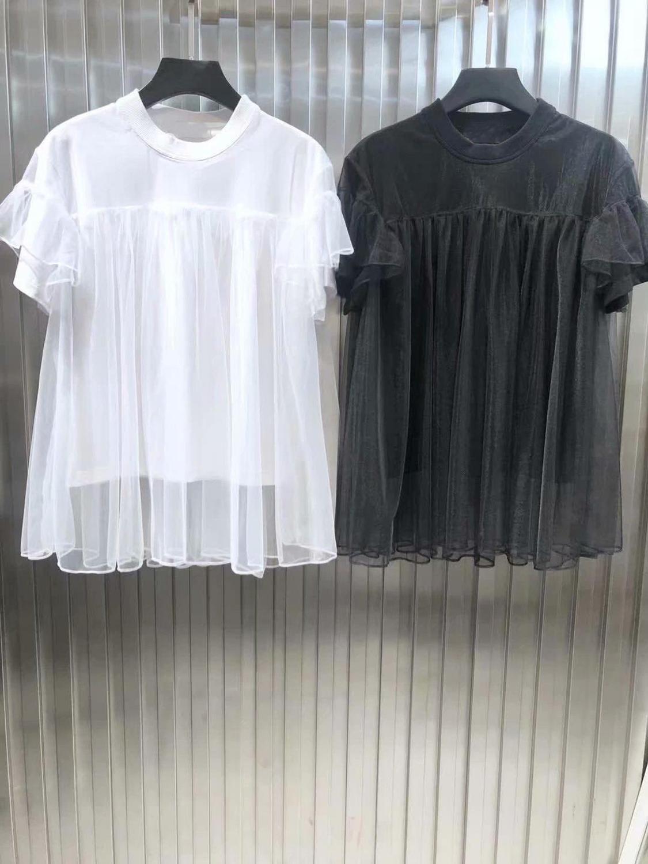 2019 new ladies fashion short sleeved casual mesh laminated top 0601