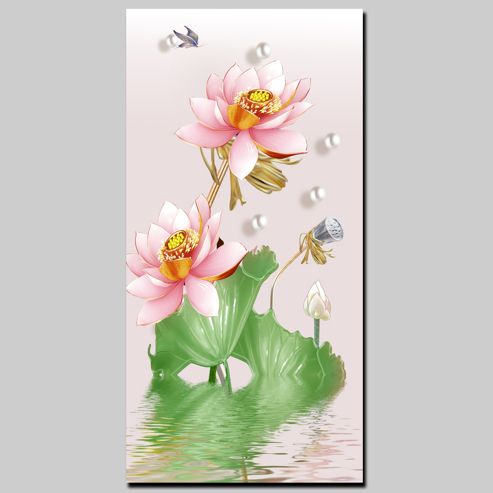 Abstract Pink Lotus Flower Canvas Printing Modern Home Decor Wall Art Pictures Large HD Floral Prints and Posters for Veranda
