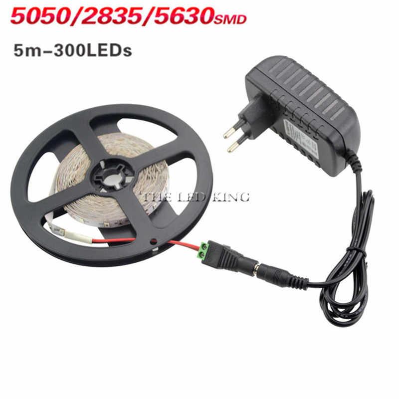 SMD 2835 RGB LED bande étanche DC 12V 5M 300LED RGBW RGBWW lumière LED bandes flexibles avec 2A adaptateur secteur