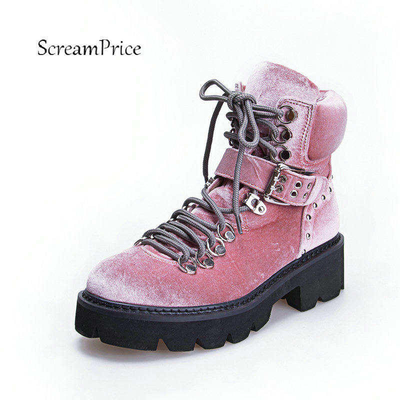 Women Suede Rivet Comfort Square Heel Martin Boots Fashion Lace Up Round Toe With Buckle Fall Winter Ankle Boots Black Pink босоножки stuart weitzman stuart weitzman st001awhng35