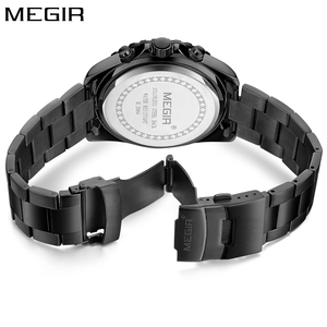 Image 4 - Megir Men Watch Sport Stainless Steel Analog Quartz Wristwatch Multifunction Chronograph Relojes Masculino Hombre Clock man 2018