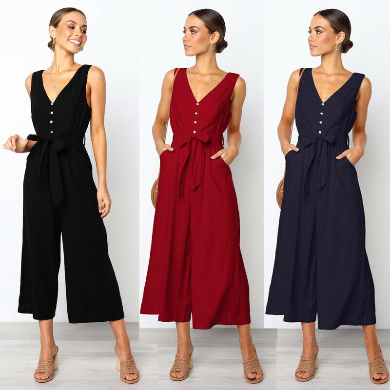 Fashion Women Wide Legs Hot Summer Loose Sexy Buttons Solid Sleeveless Bodycon Jumpsuit V-neck Romper Clubwear Long Playsuits