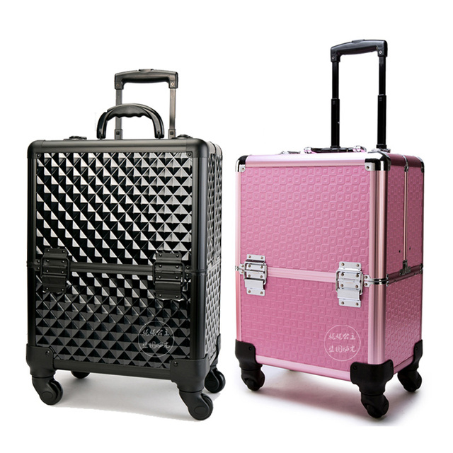 Trave Bag Cosmetic Case Professional Caster Trolley Multilayer Makeup Artist Tool Storage Box Large