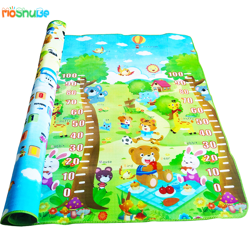 HTB1QXdIkwvD8KJjSsplq6yIEFXai Baby Crawling Play Mat 2*1.8 Meter Climb Pad Double-Side Fruit Letters And Happy Farm Baby Toys Playmat Kids Carpet Baby Game