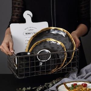 Image 4 - Keramik Abendessen Platte Gold inlay Snack Gerichte Luxus Gold Kanten Platte Geschirr Küche Platte Schwarz Und Weiß Tablett Tablware Set