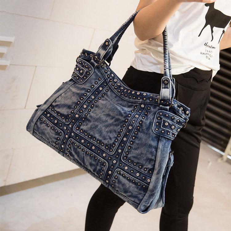 Vintage Design Mode Denim Vrouwen Bag Jeans Schoudertassen Meisjes Handtassen Crossbody Tas Vrouwen Messenger Bags - 3
