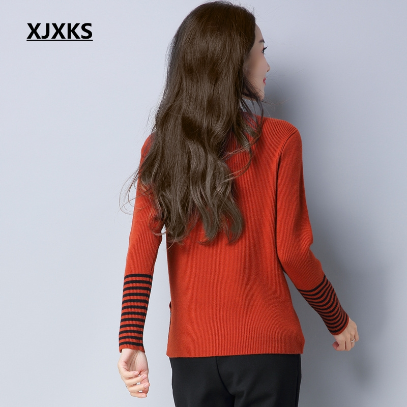 V New 2019 Sweaters Women Sweater Elastic Pullover Knitted Wool Black Caramel Black Elegant caramel Xjxks Spring neck Brand BYdqwCC
