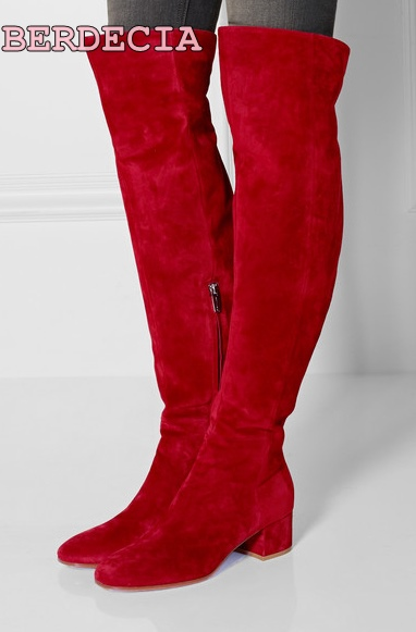 Ladies new fashion red suede over-the-knee long boots square heel shoes high heel half zipper thigh high night-club shoes