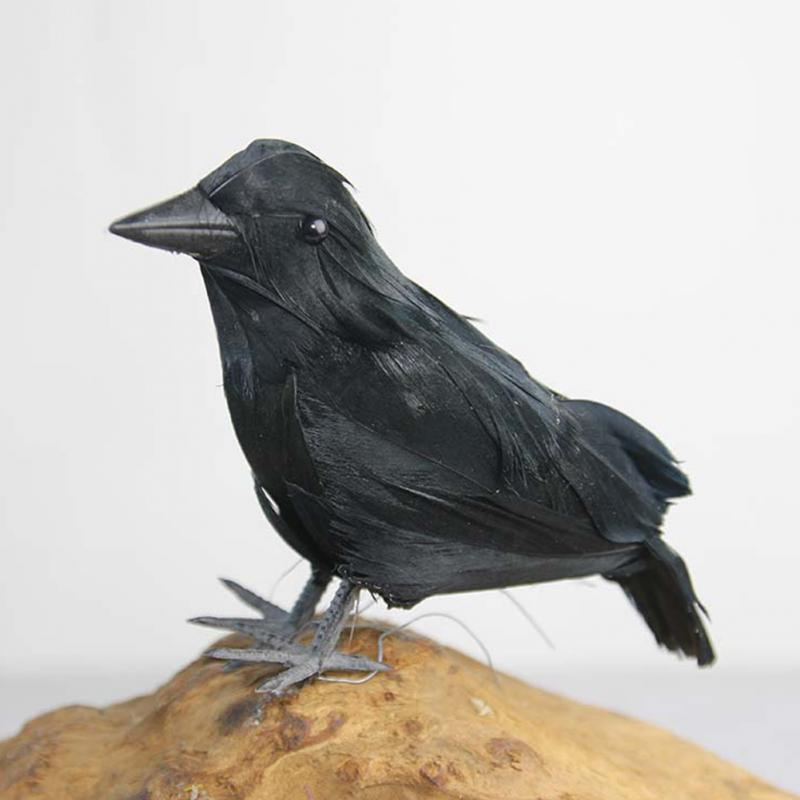 Halloween Feathered Crow Realistic Fake Bird Toys Raven Props Party Decorations