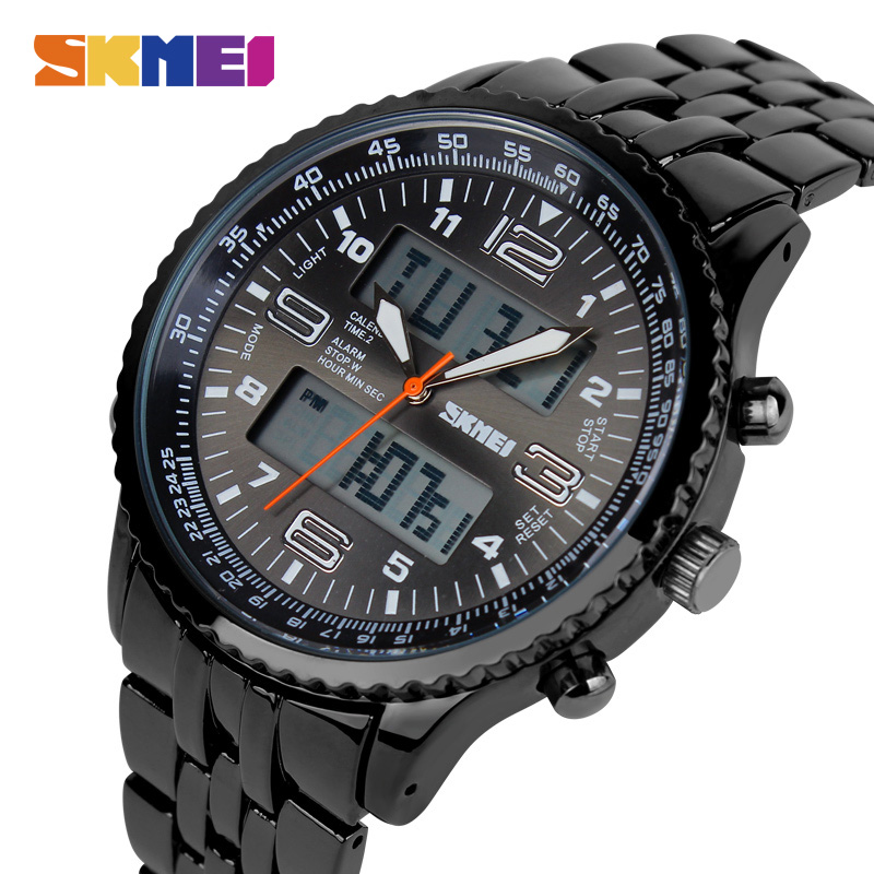 SKMEI Brand Watch Men LED Digital Watches Dual Display Wristwatches Stainless Steel Waterproof Relogio Masculino Relojes 1032