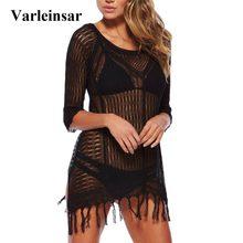b12b4403d4 2018 New Sexy Sheer Czarny Biały Fringe Tassel Tunika Plaża Cover Up  tuszowania Plaża Sukienka Bikini