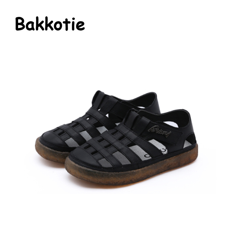 Bakkotie 2018 Summer New Baby Boy Fashion Beach Cute Sandals Children Pu Leather Flat Toddler Girl Brand White Soft Casual Shoes bakkotie 2017 new autumn baby boy casual shoes khaki genuine leather black kid girl brand flat shoes soft sole breathable child