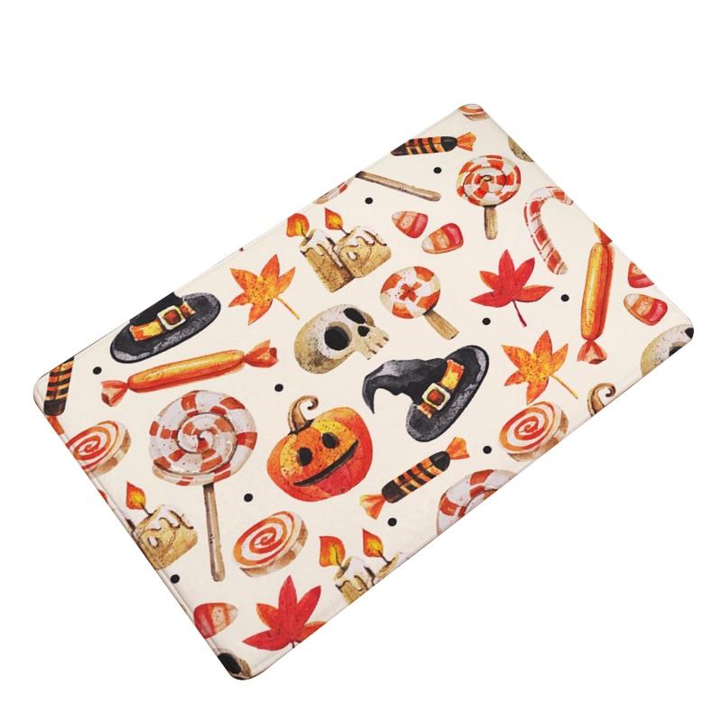 Nordic Flannel Kitchen Door Mat Halloween Skull Cartoon Carpet Bedroom Rug Pumpkin Decorative Stair Mats Home Decor Crafts Mat