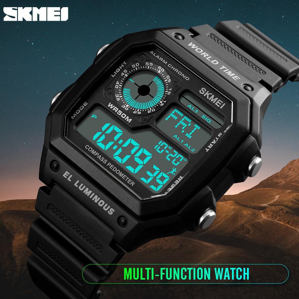 Countdown Kompass Sportuhr SKMEI Herrenuhren Top-marke Luxus Männer Armbanduhr Wasserdichte LED Elektronische Digitale Männliche Uhr