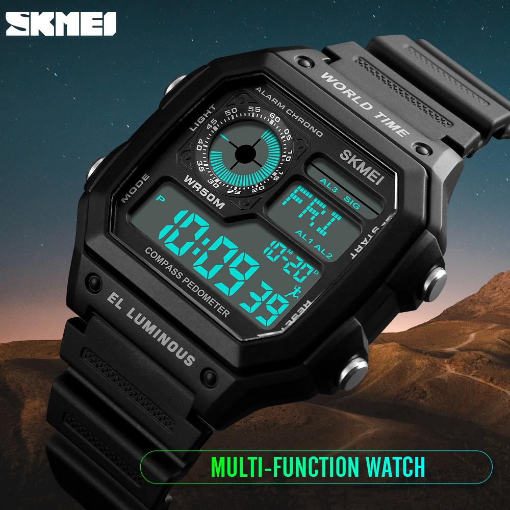 Countdown Compass Sport Watch SKMEI Mens Watches Top Brand Luxury Men Wrist Watch Waterproof LED Electronic Digital Male Watch outdoor sports watches men skmei brand countdown led men s digital watch altimeter pressure compass thermometer reloj hombre