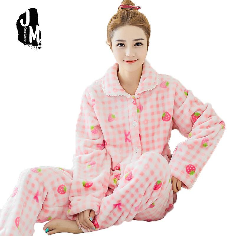 ᐃFlannel pigiama Otoño Invierno coral pijamas mujeres