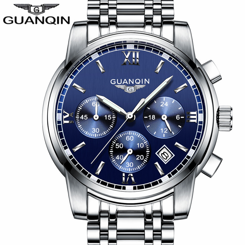 ФОТО GUANQIN LUXURY Men Business Top Brand Silver Steel Quartz-Watch Chronograph Luminous Date Clock Men's Fashion Casual Wristwatch