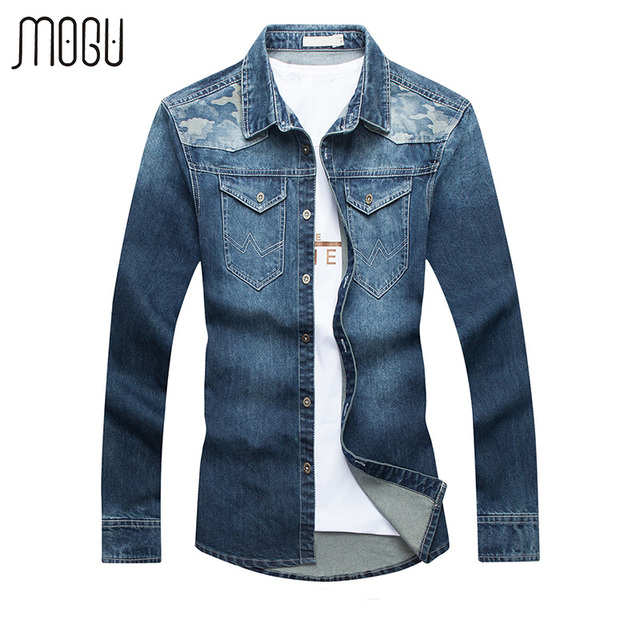 a7f394ef3ff4 MOGU Patch Work Denim Shirts Men With Long Sleeve 2017 New Fashion Contrast  Color Casual Shirt Slim Fit Asian Size Men s Shirt