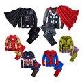 Зимние Мальчики Домашняя Одежда Набор Ironman Паук Superhero Тор Шаблон Капюшоном + Брюки детские Пижамы Костюм Детская Одежда