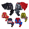 Winter Boys Superhero Homewear Set Ironman Spiderman Thor Pattern Hooded Sweatshirt+Pants Children's Pajamas Suit Kids Clothes