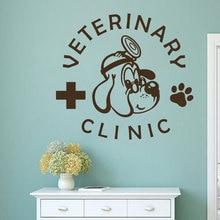 Pet Veterinary Services Logo Wall Sticker Medicine Clinic Design Decal Shop Cat Dog Vinyl Mural AY1347