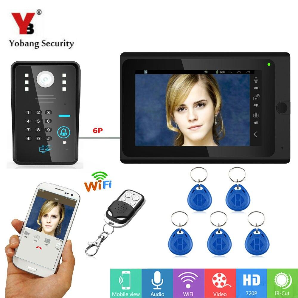 Yobang безопасности 7 дюймов Запись видео WI-FI видео Дверные звонки с внутренней Мониторы приложение rfid и пароль и App Управление двери телефон дв... ...