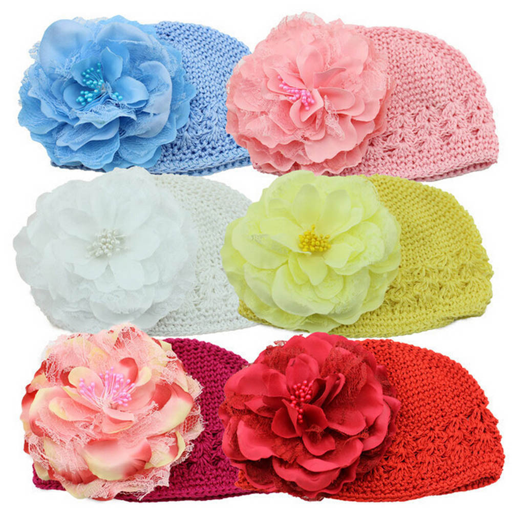 Hot Baby Cute Newborn Baby Flower Cotton Hat Beanie Toddler Girls Photography Props Style Baby Hat Accessories lowest price