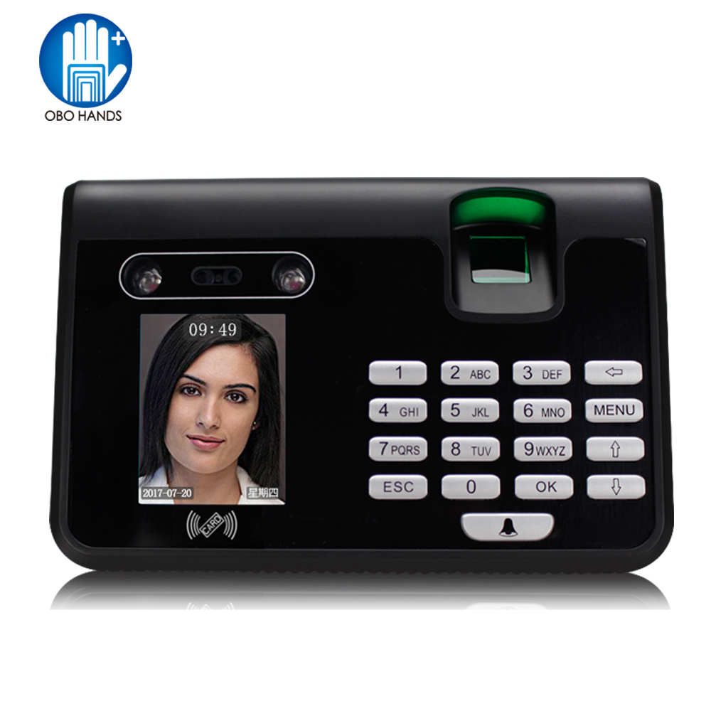 2.8 inch TFT Biometric Facial Fingerprint Employee Time Attendance High Quality Face Recognition System Face Employee Time Clock