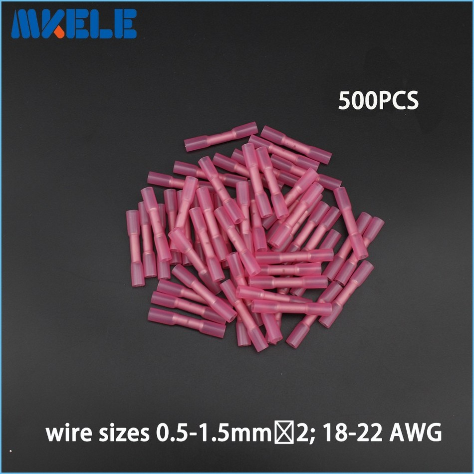 500pcs Insulated Heat Shrink Butt Connectors Wire Electrical Crimp Terminals 22-18AWG Kit 500 pcs blue heat shrink 16 14 ga butt wire connectors ring terminal free shiping