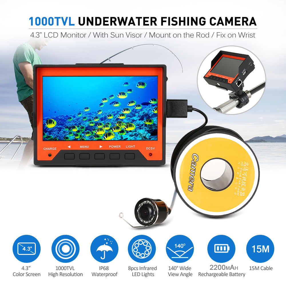 "Lixada 15M 1000TVL 4.3"" Underwater Ice Fishing Camera Fish Finder with Wrist Strap 8 Infrared LED Night Vision Camera Pesca"