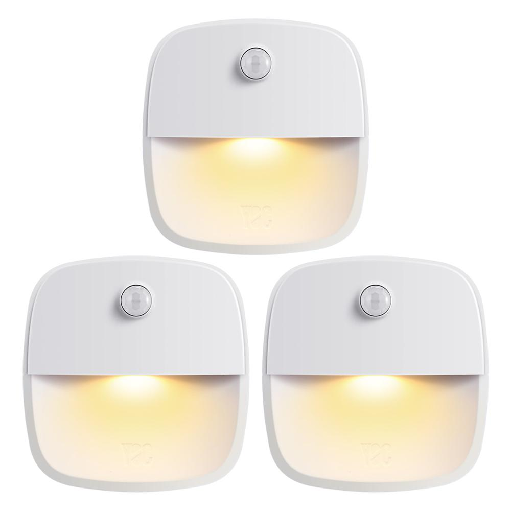 AMIR 3PCS Motion Sensor Night Light Wireless Wall Light Magnet Closet Lights Stairs Bathroom Kitchen Emergency LED Night Light
